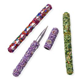 Hand Crafted Green, Red and Purple Set of 3 Embellished Pens