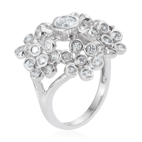 J Francis - Platinum Overlay Sterling Silver (Rnd) Floral Ring Made with SWAROVSKI ZIRCONIA