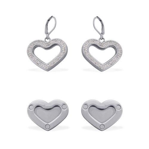 Glass, White Austrian Crystal Heart Lever Back Earrings in Stainless Steel