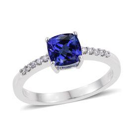 RHAPSODY 950 Platinum 1.25 Carat AAAA Tanzanite Cushion Solitaire Ring, Diamond VS E-F.