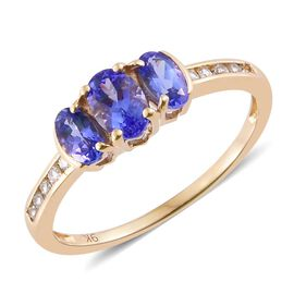 9K Yellow Gold 1.15 Ct AA Tanzanite Ring with Natural Cambodian Zircon