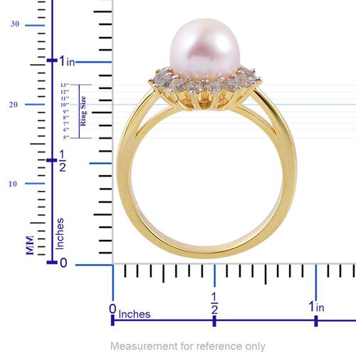 Japanese Akoya Pearl (Rnd 4.00 Ct), White Zircon Ring in Yellow Gold Overlay Sterling Silver 4.750 Ct.