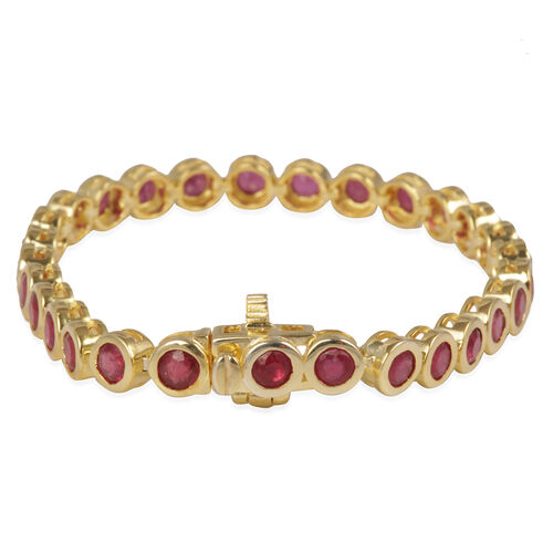 African Ruby (Rnd) Bracelet (Size 8) in 14K Gold Overlay Sterling Silver 11.250 Ct.