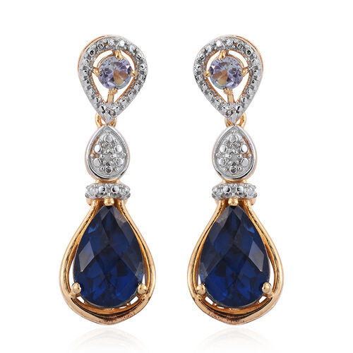 Checkerboard Cut Ceylon Colour Quartz (Pear), Bondi Blue Tanzanite and Diamond Earrings (with Push Back) in 14K Gold Overlay Sterling Silver 7.770 Ct.