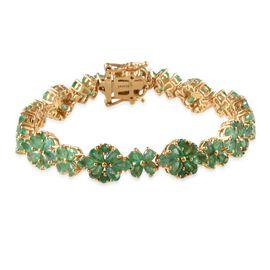 Kagem Zambian Emerald (Pear) Bracelet in 14K Gold Overlay Sterling Silver (Size 7.5) 13.750 Ct.