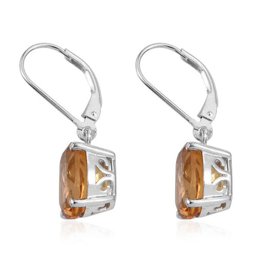 Citrine (Ovl) Lever Back Earrings in Platinum Overlay Sterling Silver 6.750 Ct.