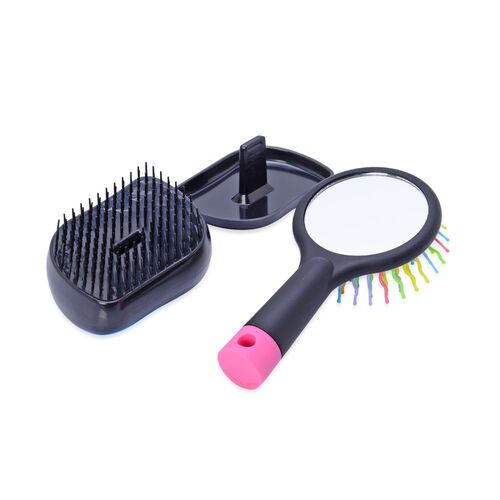 Set of 2 - Purple and Black Colour Styler and Pink Colour Rainbow Comb with Mirror
