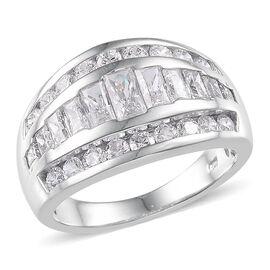 J Francis - Platinum Overlay Sterling Silver (Bgt) Ring Made with SWAROVSKI ZIRCONIA 2.520 Ct.