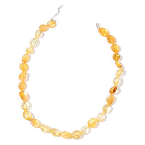 (Option 2) Citrine Necklace (Size 18 with 2 inch Extender) in Rhodium Plated Sterling Silver 190.000 Ct.