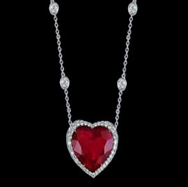 African Ruby (Hrt 15.00 Ct), White Sapphire Necklace (Size 18) in Rhodium Plated Sterling Silver 17.000 Ct.