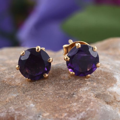 AA Lusaka Amethyst (Rnd) Stud Earrings (with Push Back) in 14K Gold Overlay Sterling Silver 2.500 Ct.