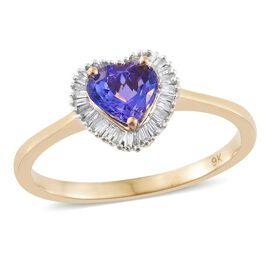 Limited Edition- 9K Y Gold AA Tanzanite (Hrt 1.25 Ct), Diamond Ring 1.500 Ct.