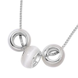 Simulated White Cats Eye Pendant With Chain (Size 28 with 2 inch Extender) in Silver Tone