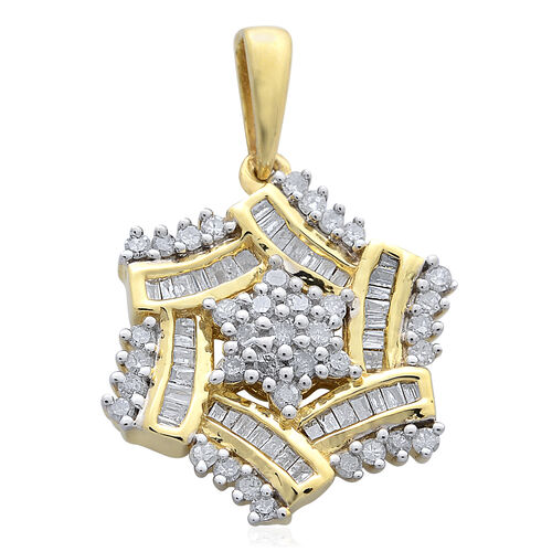 Limited Edition Diamond (Rnd G-H) Floral Pendant in 14K Gold Overlay Sterling Silver 0.500 Ct.