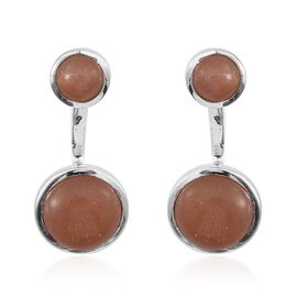 Morogoro Peach Sunstone (Rnd) Earrings (with Push Back) in Platinum Overlay Sterling Silver 10.000 Ct.