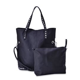 Set of 2 - Black Colour Large with Adjustable, Removable Shoulder Strap and Small Handbag (Size 42x40x15 Cm and 27x25x9 Cm)