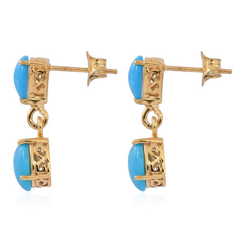 Arizona Sleeping Beauty Turquoise (Ovl) Earrings in 14K Gold Overlay Sterling Silver 3.500 Ct.