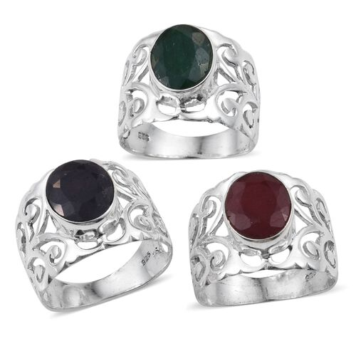 Set of 3 - Ruby (Ovl), Blue Sapphire and Emerald Filigree Ring in Sterling Silver 10.020 Ct.
