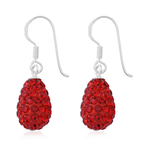 Red Austrian Crystal (Rnd) Hook Earrings in Sterling Silver 1.000 Ct.