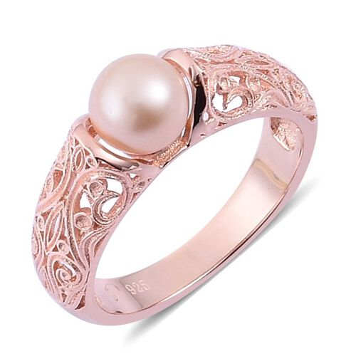 PEARL EXPRESSIONS Fresh Water Peach Pearl (Rnd) Ring in Rose Gold Overlay Sterling Silver