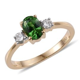 One off ILIANA 18K Y Gold Rare Tsavorite Garnet (Ovl 1.25 Ct), Diamond Ring 1.500 Ct.