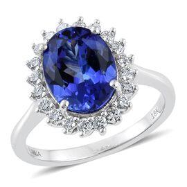 ILIANA 18K White Gold 4.25 Carat AAA Tanzanite Halo Ring With Diamond SI G-H