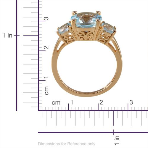 Sky Blue Topaz (Rnd 5.75 Ct), Diamond 3 Stone Ring in 14K Gold Overlay Sterling Silver 5.770 Ct.