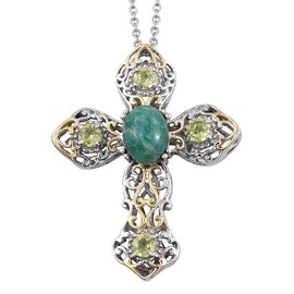 Russian Amazonite (3.25 Ct),Chinese Peridot Platinum Overlay Sterling Silver, Stainless Steel Pendant With Chain  4.500  Ct.