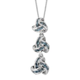Blue Diamond (Bgt) Triple Knot Pendant with Chain in Platinum Overlay Sterling Silver 0.330 Ct.