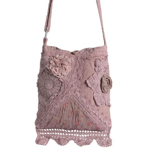 New For Season - 100% Cotton Multi Colour Floral and Leaves Printed Square Shape Hot Pink Colour Shoulder Bag (Size 30x25 Cm)