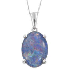 AAA Rare Size Australian Boulder Opal (Ovl) Solitaire Pendant With Chain in Platinum Overlay Sterling Silver 7.000 Ct.