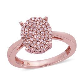 9K Rose Gold Natural Pink Diamond (Rnd) (I3/I) Cluster Ring 0.250 Ct.