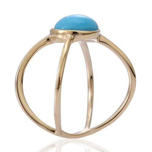 9K Y Gold Arizona Sleeping Beauty Turquoise (Rnd) Solitaire Ring 2.000 Ct.