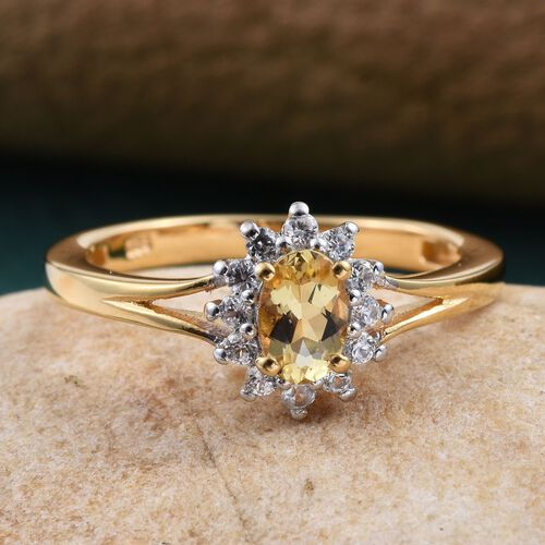 Marialite (Ovl 0.50 Ct), Natural Cambodian Zircon Ring in 14K Gold Overlay Sterling Silver 0.750 Ct.
