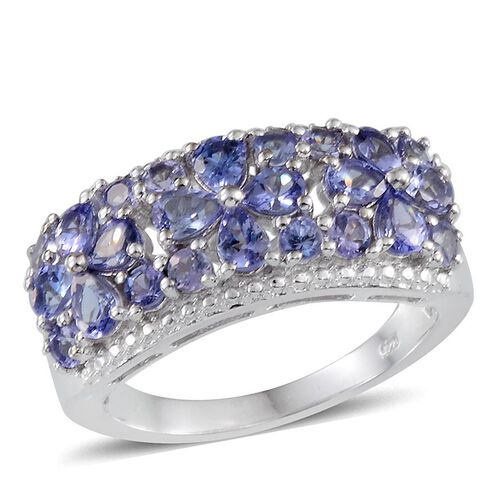 Tanzanite (Pear) Ring in Platinum Overlay Sterling Silver 2.250 Ct.
