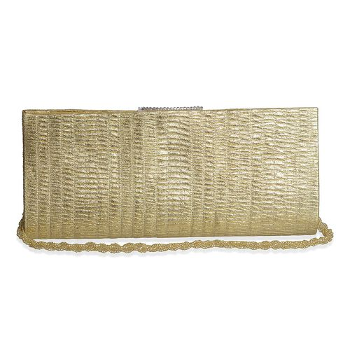 Golden Colour Handmade Clutch Bag with Simulated Stones (Size 10x4 inch)