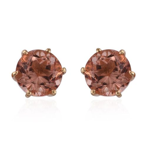 Morganite Colour Quartz (Rnd) Stud Earrings (with Push Back) in 14K Gold Overlay Sterling Silver 4.250 Ct.