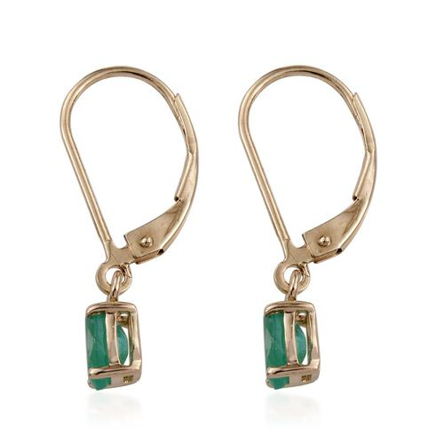 14K Y Gold Boyaca Colombian Emerald (Ovl) Lever Back Earrings 0.900 Ct.