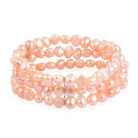 Double Shine - Fresh Water Peach Pearl Multi Strand Stretchable Bracelet (Size 7.5) in Stainless Steel