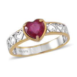 African Ruby (Hrt) Solitaire Ring in Rhodium Plated and Yellow Gold Overlay Sterling Silver 1.750 Ct.