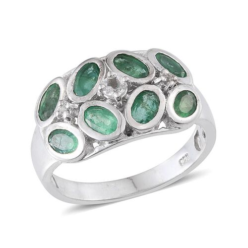 Kagem Zambian Emerald (Ovl), White Topaz Ring in Platinum Overlay Sterling Silver 2.500 Ct.