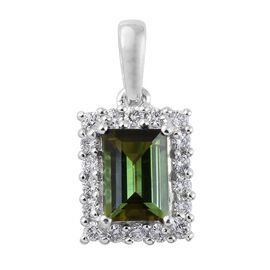 ILIANA 18K White Gold 1.30 Carat Green AAA Tourmaline Pendant With Diamond SI G-H