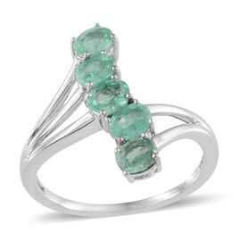 Close Out Deal 14K W Gold Boyaca Colombian Emerald (Ovl) 5 Stone Crossover Ring 1.500 Ct.