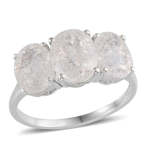 White Crackled Quartz (Ovl 2.75 Ct) 3 Stone Ring in Platinum Overlay Sterling Silver 6.500 Ct.
