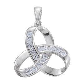 J Francis - Platinum Overlay Sterling Silver (Rnd) Knot Pendant Made with SWAROVSKI ZIRCONIA