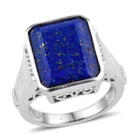 Lapis Lazuli (Oct) Ring in ION Plated Platinum Bond 10.500 Ct.