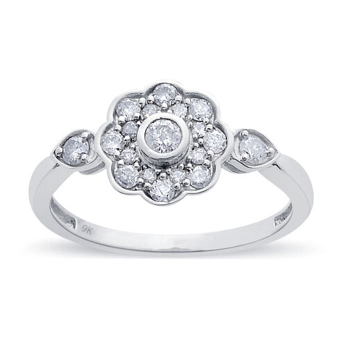 9K W Gold SGL Certified Diamond (Rnd) (I3/ G-H) Floral Ring 0.500 Ct.