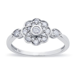 9K W Gold SGL Certified Diamond (Rnd) (I3/ G-H) Floral Ring 0.500 Ct.