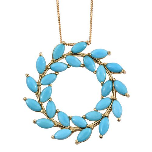 Arizona Sleeping Beauty Turquoise (Mrq) Pendant with Chain in 14K Gold Overlay Sterling Silver 5.500 Ct.