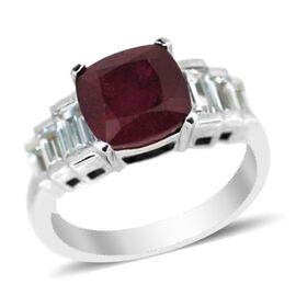 African Ruby (Cush 4.80 Ct), Natural Cambodian White Zircon Ring in Rhodium Plated Sterling Silver 6.000 Ct.